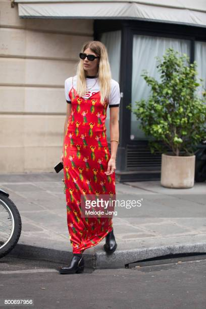 Veronika Heilbrunner in a SSSWorldCorp Hawaiian print dress at the SSS World Corp SS18 lunch on June 24 2017 in Paris France
