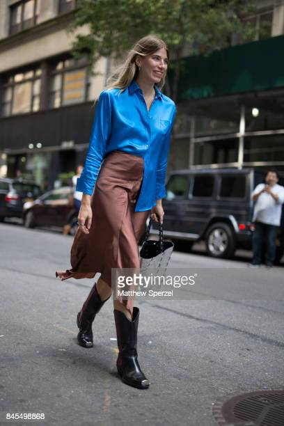 Veronika Heilbrunner is seen attending Sies Marjan during New York Fashion Week wearing Sies Marjan on September 10, 2017 in New York City.