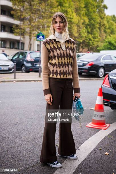 Veronika Heilbrunner is seen before the Celine show during Paris Fashion Week Womenswear SS18 on October 1 2017 in Paris France