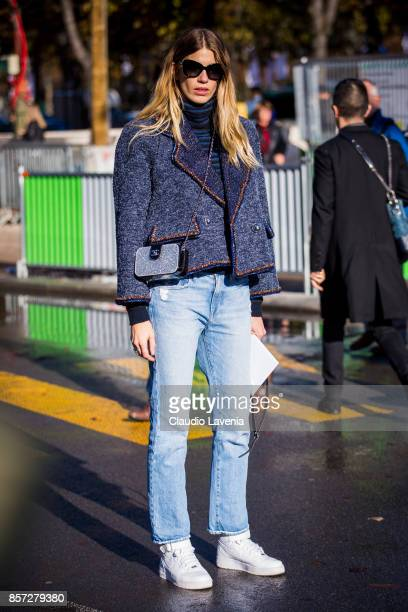 Veronika Heilbrunner is seen before the Chanel show during Paris Fashion Week Womenswear SS18 on October 3 2017 in Paris France