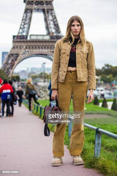 Veronika Heilbrunner is seen in front of the Eiffel Tower before the Hermes show during Paris Fashion Week Womenswear SS18 on October 2 2017 in Paris...