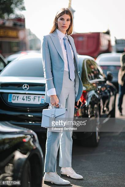 Veronika Heilbrunner is seen outside the Chanel show during Paris Fashion Week Spring Summer 2017 at Grand Palais on October 4 2016 in Paris France