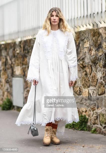 Veronika Heilbrunner is seen wearing a Loewe dress outside the Loewe show during Paris Fashion Week: AW20 on February 28, 2020 in Paris, France.