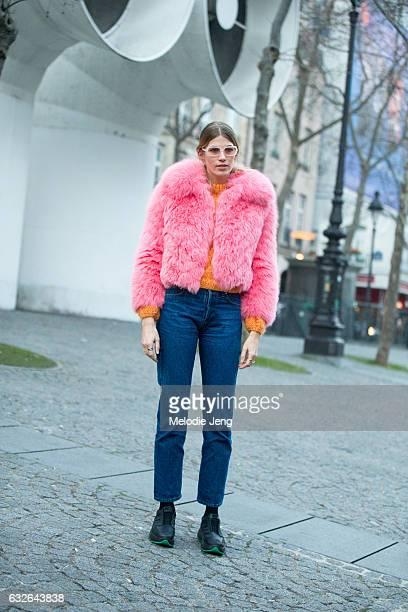 Veronika Heilbrunner outside the Vetements show at Centre Pompidou on January 24 2017 in Paris France