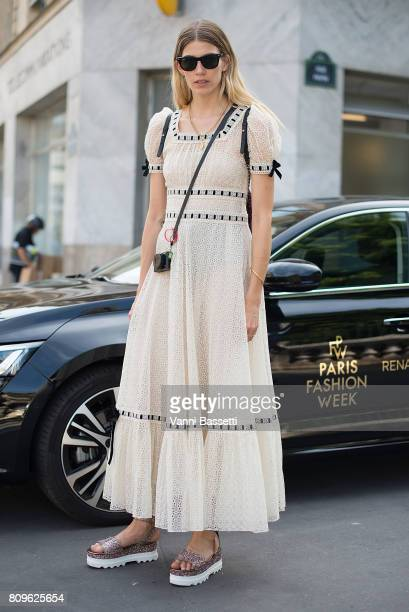 Veronika Heilbrunner poses after the Jean Paul Gaultier show during Paris Fashion Week Haute Couture FW 17/18 on July 5 2017 in Paris France