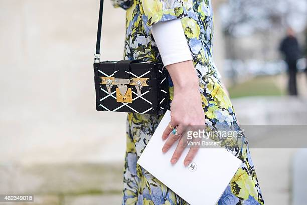 Veronika Heilbrunner poses wearing an Erdem dres and Louis Vuitton bag during day 3 of Paris Haute Couture Spring Summer 2015 on January 27 2015 in...