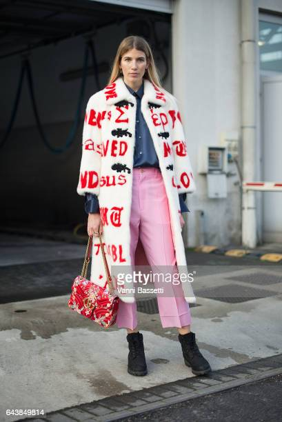 Veronika Heilbrunner poses wearing Gucci after the Gucci show during Milan Fashion Week Fall/Winter 2017/18 on February 22 2017 in Milan Italy