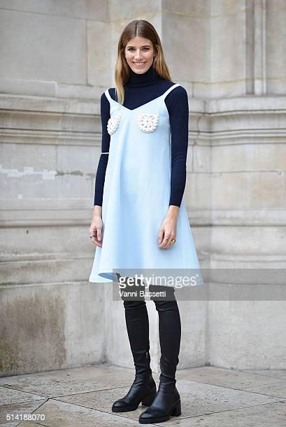 Veronika Heilbrunner poses wearing Vika Gazinskaya before the Stella McCartney show at the Opera Garnier during Paris Fashion Week FW 16/17 on March...
