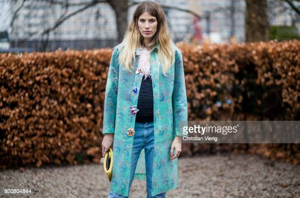 Veronika Heilbrunner seen outside Christopher Kane during London Fashion Week February 2018 on February 19 2018 in London England