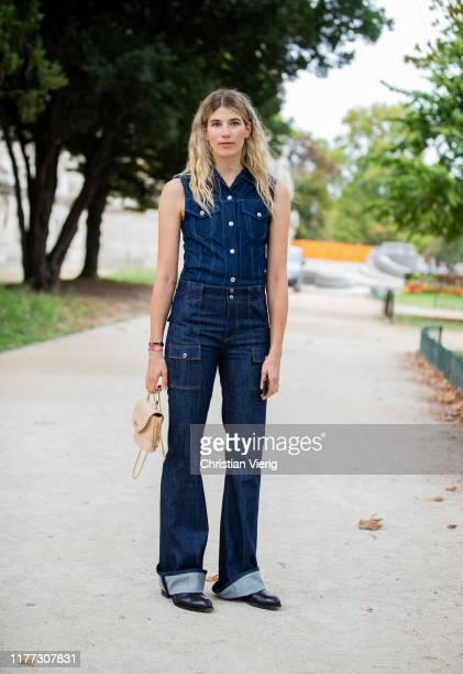Veronika Heilbrunner seen wearing sleeveless denim jacket, jeans outside Chloe during Paris Fashion Week Womenswear Spring Summer 2020 on September...