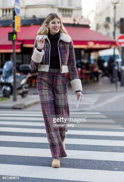 Veronika Heilbrunner wearing a checked Chloe suit brown leather boots outside Chloe on March 2 2017 in Paris France