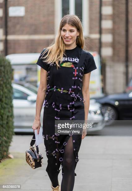 Veronika Heilbrunner wearing a dress black tshirt outside Christopher Kane on day 4 of the London Fashion Week February 2017 collections on February...