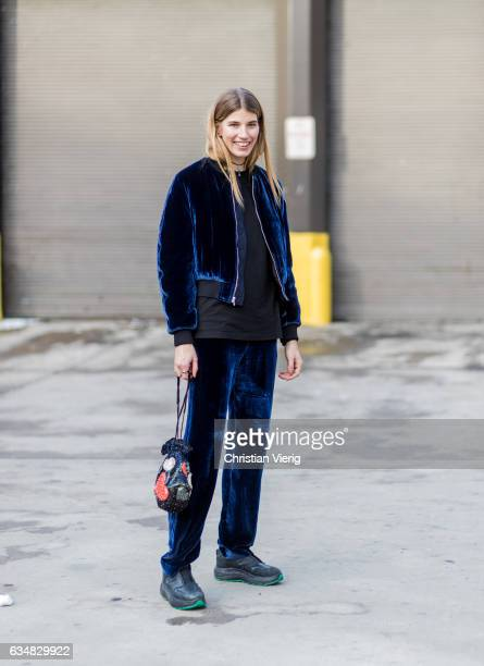Veronika Heilbrunner wearing a navy velvet suit outside Dion Lee on February 11 2017 in New York City