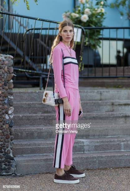 Veronika Heilbrunner wearing a pink suit outside Saks Potts on August 10 2017 in Copenhagen Denmark