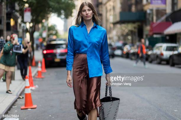 Veronika Heilbrunner wearing blue button shirt brown skirt seen in the streets of Manhattan outside Sies Marjan during New York Fashion Week on...