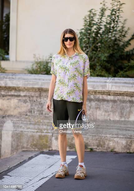 Veronika Heilbrunner wearing Nike shorts is seen outside Dries van Noten during Paris Fashion Week Womenswear Spring/Summer 2019 on September 26 2018...