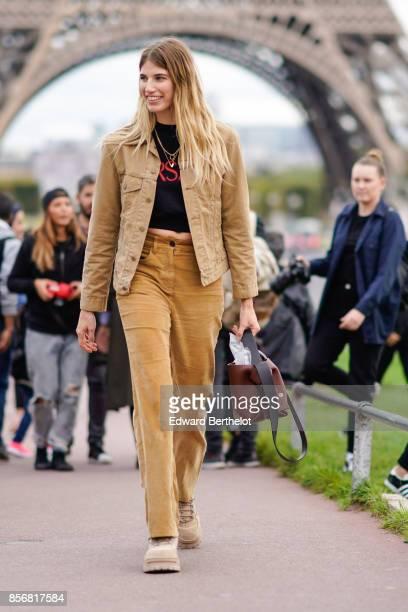 Veronika Heilbrunner wears a camel suit camel pants outside Hermes during Paris Fashion Week Womenswear Spring/Summer 2018 on October 2 2017 in Paris...