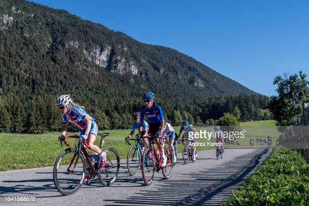Veronika Jandova of Czech Republic and Camilla Alessio of Italy in lead during the Women Junior Road Race of UCI 2018 Road World Championships on...