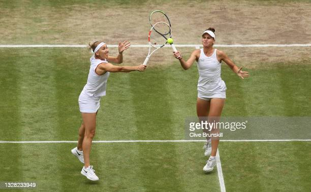 Veronika Kudermetova of Russia and Elena Vesnina of Russia in action during their Ladies' Doubles Final match against Su-Wei Hsieh of Taiwan and...