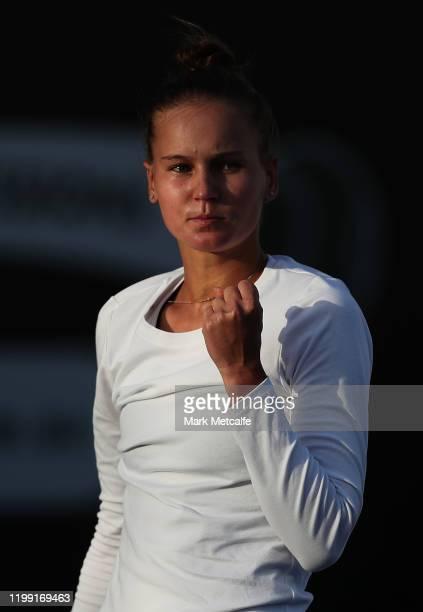 Veronika Kudermetova of Russia celebrates winning a point during her first round singles match against Samantha Stosur of Australia during day three...
