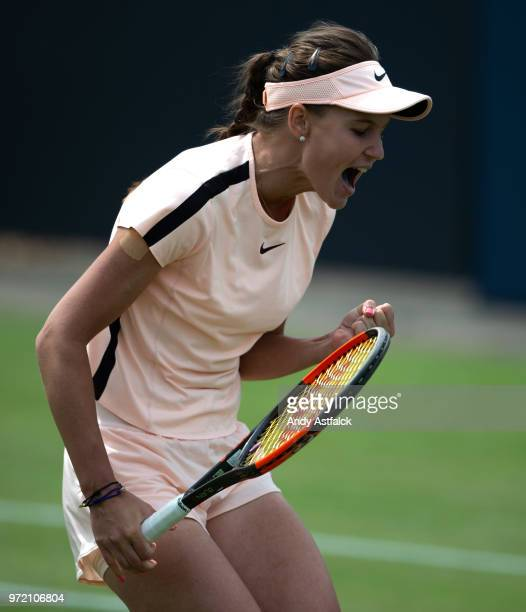 Veronika Kudermetova of Russia celebrates winning a set in her women's singles match against Anett Kontaveit of Estonia during day two of the 2018...