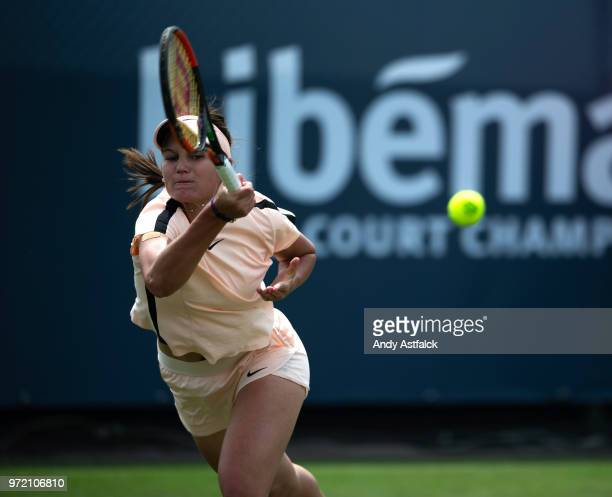 Veronika Kudermetova of Russia competes in her women's singles match against Anett Kontaveit of Estonia during day two of the 2018 Libema Open on...