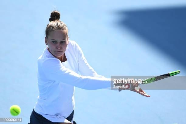 Veronika Kudermetova of Russia hits a backhand during her semi final singles match against Zhang Shuai of China during day seven of the 2020 Hobart...