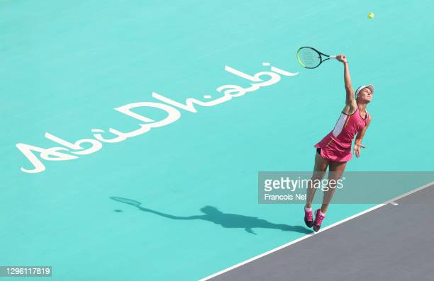 Veronika Kudermetova of Russia in action against Aryna Sabalenka of Belarus during her women's singles final match on Day Eight of the Abu Dhabi WTA...
