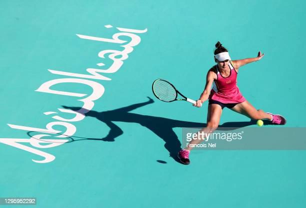 Veronika Kudermetova of Russia in action against Marta Kostyuk of Ukraine during her women's singles semi final match on Day Seven of the Abu Dhabi...
