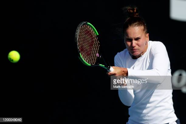 Veronika Kudermetova of Russia plays a backhand during her semi final singles match against Zhang Shuai of China during day seven of the 2020 Hobart...