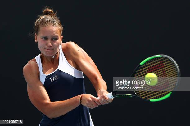 Veronika Kudermetova of Russia plays a backhand during her Women's Singles first round match against Sara Sorribes Tormo of Spain on day three of the...