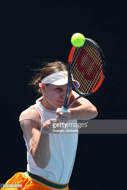 Veronika Kudermetova of Russia plays a backhand in her match against Anna Zaja of Germany during day three of Qualifying ahead of the 219 Australian...
