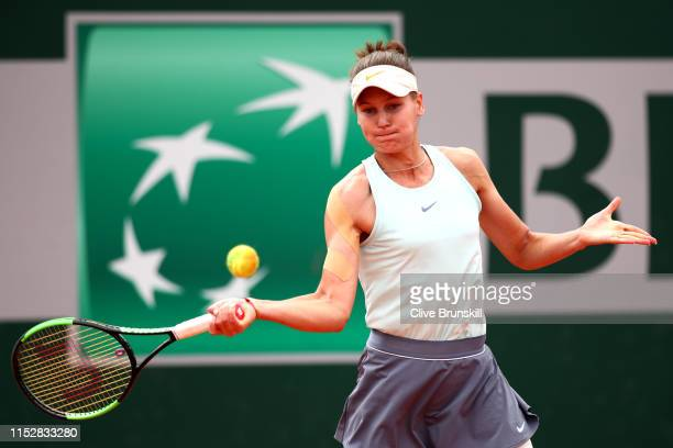 Veronika Kudermetova of Russia plays a forehand during her ladies singles third round match against Kaia Kanepi of Estonia during Day six of the 2019...