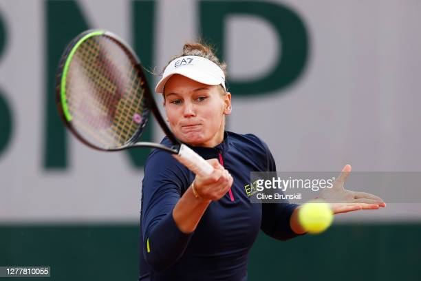 Veronika Kudermetova of Russia plays a forehand during her Women's Singles second round match against Petra Martic of Croatia on day five of the 2020...