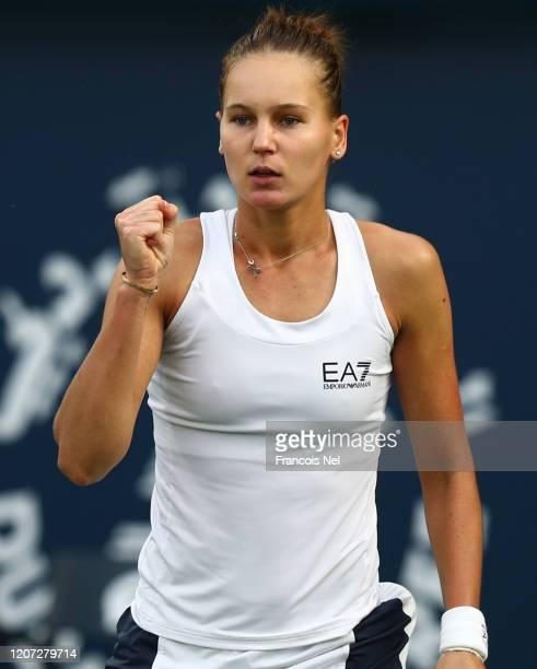 Veronika Kudermetova of Russia reacts during Day Three of the Dubai Duty Free Tennis at Dubai Duty Free Tennis Stadium on February 19, 2020 in Dubai,...