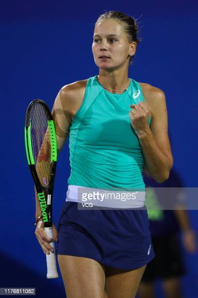 Veronika Kudermetova of Russia reacts in the second round match against Belinda Bencic of Switzerland on day three of 2019 Dongfeng Motor Wuhan Open...