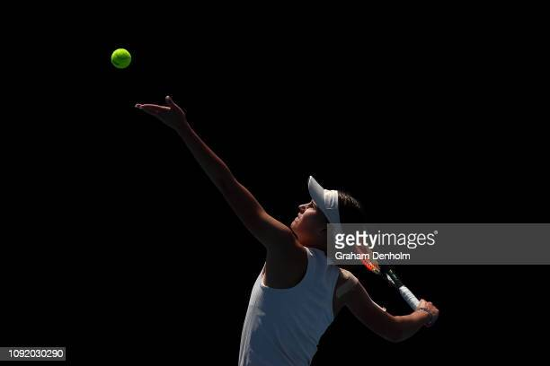 Veronika Kudermetova of Russia serves in her match against Anna Zaja of Germany during day three of Qualifying ahead of the 219 Australian Open at...