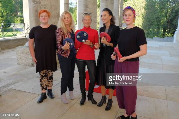 Veronika Polly, Katharina Strasser, Katharina Zechner, Maddalena Hirschal and Marlene Morreis pose during the 'Curling For Eisenstadt' pre-premiere...