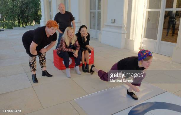 Veronika Polly, Peter Faerber, Katharina Strasser, Maddalena Hirschal and Marlene Morreis pose during the 'Curling For Eisenstadt' pre-premiere at...