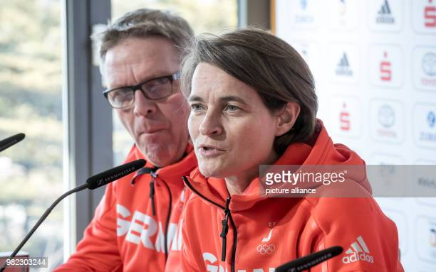 Veronika Ruecker Chairwoman of the Board of the German Olympic Sports Federation and Dirk Schimmelpfennig head of mission of the DOSB speaking during...