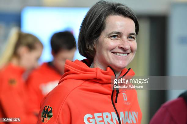 Veronika Ruecker chairwoman of the DOSB smiles during the 2018 PyeongChang Olympic Games German Team kit handover at Postpalast on January 22 2018 in...