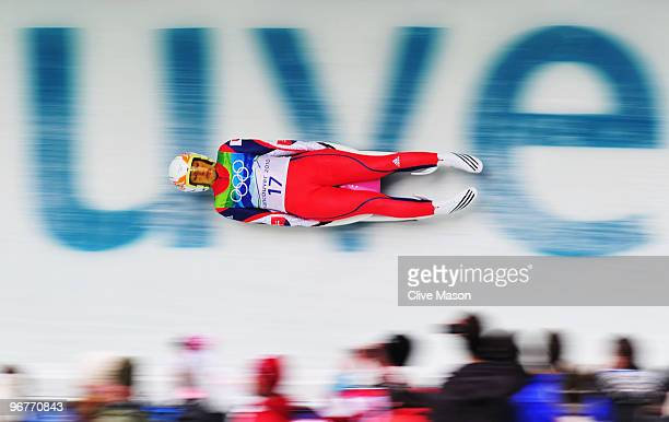 Veronika Sabolova of Slovakia competes during the Luge Women's Singles on day 5 of the 2010 Winter Olympics at Whistler Sliding Centre on February 16...