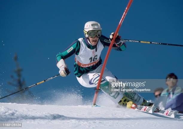 Veronika Sarec representing Yugoslavia in the women's slalom during the 1988 Winter Olympics at the Nakiska ski resort on February 26, 1988 in...
