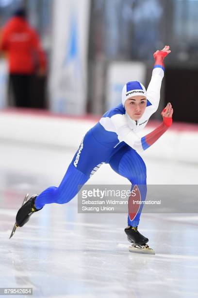 Veronika Suslova of Russia performs during the Ladies 500 Meter at the ISU Junior World Cup Speed Skating at Max Aicher Arena on November 26 2017 in...
