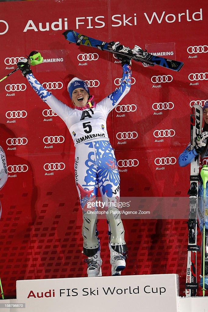 Veronika Velez Zuzulova of Slovakia celebrates after taking 1st place during the Audi FIS Alpine Ski World Cup Women's Slalom on December 29, 2012 in Semmering, Austria.