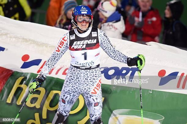 Veronika Velez Zuzulova of Slovakia celebrates in finish line after her second run of the FIS slalom ski event on mounting Sljeme some 10 kilometers...