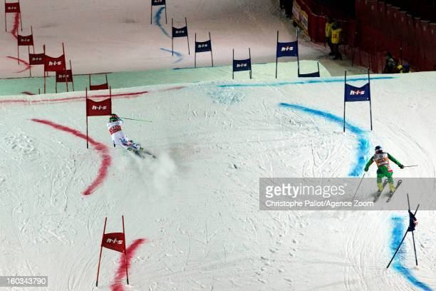 Veronika Velez Zuzulova of Slovakia takes 2nd place competes during the Audi FIS Alpine Ski World Cup Men and Women's Parallel slalom on January 29...