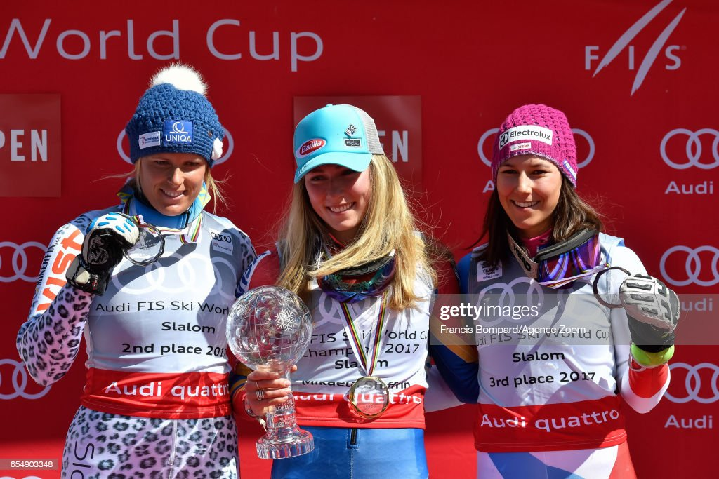 Veronika Velez Zuzulova of Slovakia takes 2nd place in the overall standings, Mikaela Shiffrin of USA wins the globe in the overall standings, Wendy Holdener of Switzerland takes 3rd place in the overall standings during the Audi FIS Alpine Ski World Cup Finals Women's Slalom on March 18, 2017 in Aspen, Colorado