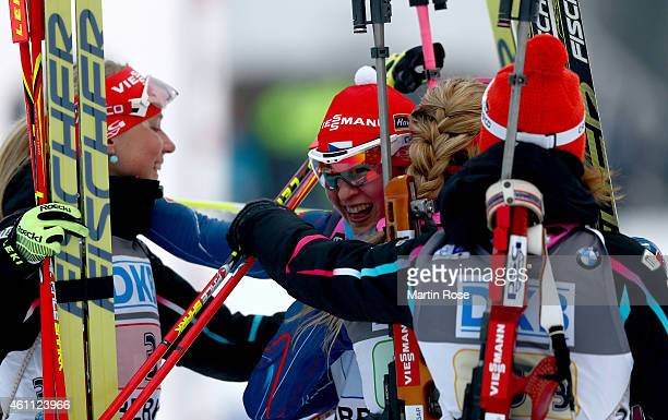Veronika Vitkova of Czech Republic celebrate with her team mates after winning the Women's 4x 6.0 km relay of the BMW World Cup on January 7, 2015 in...