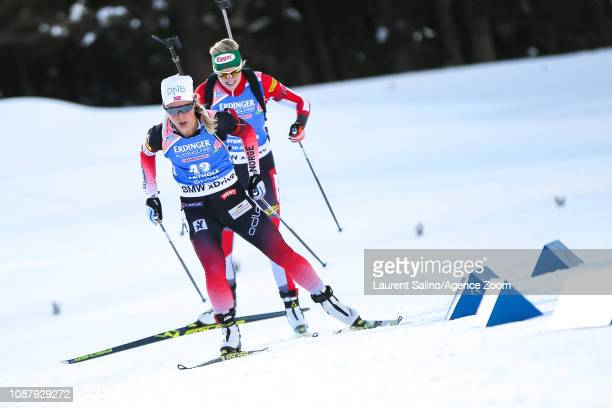 Veronika Vitkova of Czech Republic competes during the IBU Biathlon World Cup Women's Sprint on January 24 2019 in Antholz Anterselva Italy